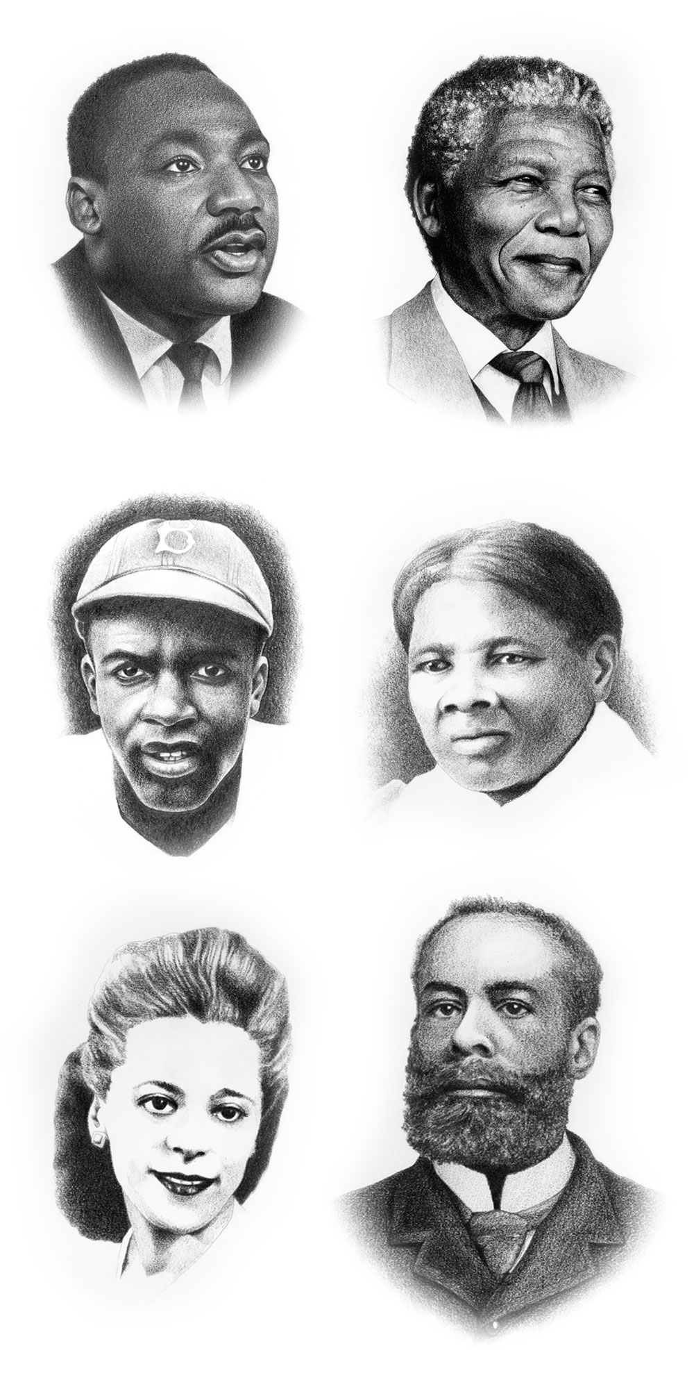 Black History Month Portraits by Elden Creative Group | Martin Luther King, Jr., Nelson Mandela, Jackie Robinson, Harriet Tubman, Viola Desmond, Elijah McCoy